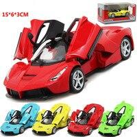 For Ferrari Super Racing Alloy Car Model Pull Back Music Light Open Door Simulation for Rafa Sport Car Toy Model Collection Gift