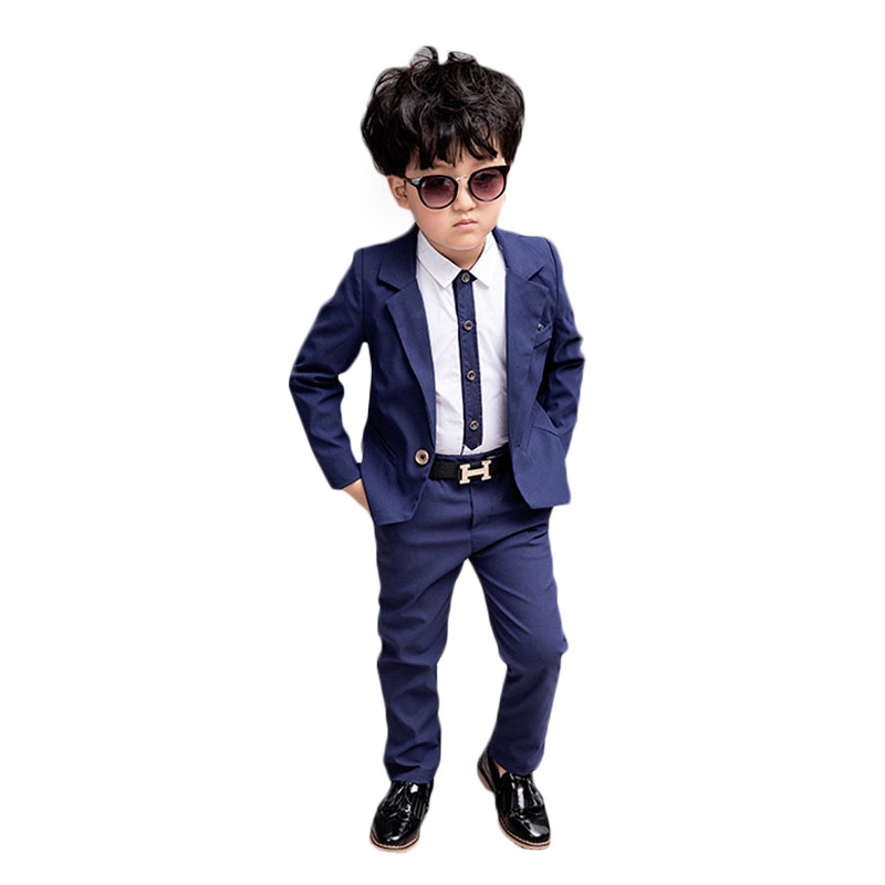 Boys suits 3pcs Marrige Kids Clothes boys Suit for Weddings Cotton Solid Blazer jacket+P ...