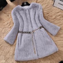 Winter jacket female natural fur rabbit hair Slim long coat 2019 autumn and winter fur rabbit hair Korean version of the nine-po