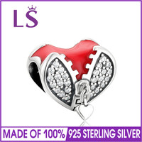 LS 100 925 Sterling Silver Enamel Love Heart Charm Beads Fit Original Brand Bracelet Authentic DIY