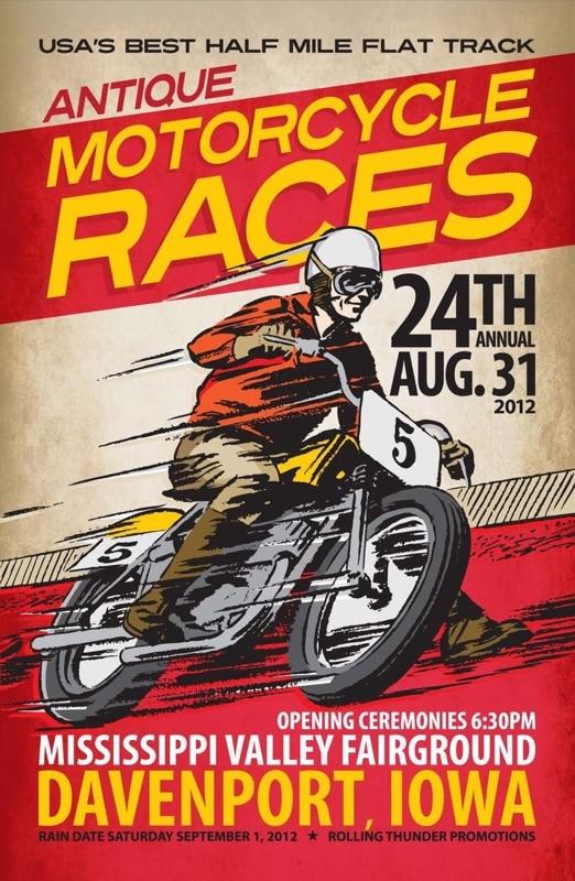La emoción que viene con motociclismo vintage retro Kraft cartel ...