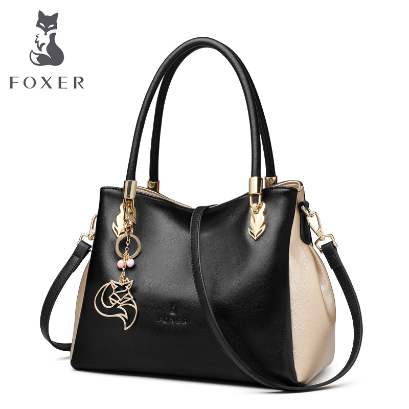 FOXER Brand Women Genuine Leather Handbag Casual Tote Shoulder bag Female Fashion Handbags Ladies Leather Crossbody Bag free shipping mink fur kintted cap fur cap fur hat wholesale