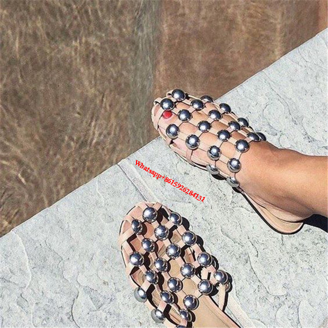 f1d8b1cdaf3 Nude Black Caged Studded Amelia Runway Slipper Sandals Shoes Summer Women  Cut Out Slip On Casual Gladiator Flat Sandals Shoes
