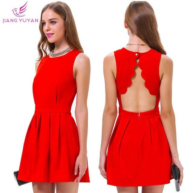 e7a60667b Vestidos Roupas Femininas calle moda Casual vestido sin mangas de Color  rojo partido Vestidos mujer ropa