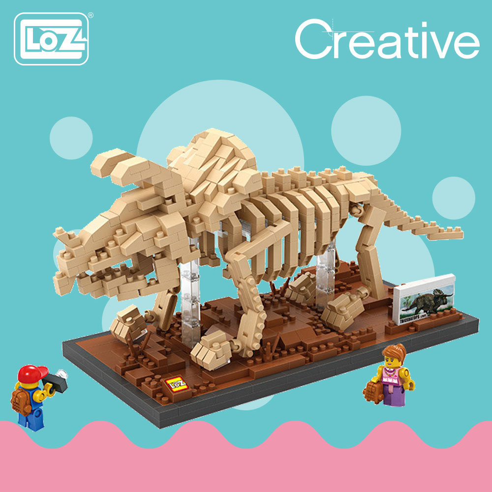 LOZ Diamond Blocks Creator Mini Micro Building Bricks Triceratops Skeleton  Dinosaur Fossil Toys Animals Model Museum Gift 9025