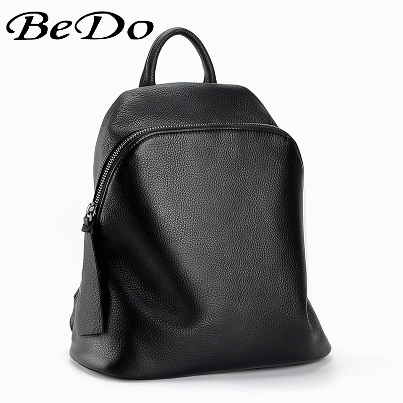 Damen Weibliche Beliebte 100 Echtleder Black Bedo Retro Backbacks Mujer Laptoptasche Weichen Echt Echtes Mochilas Einfache dxXZaq