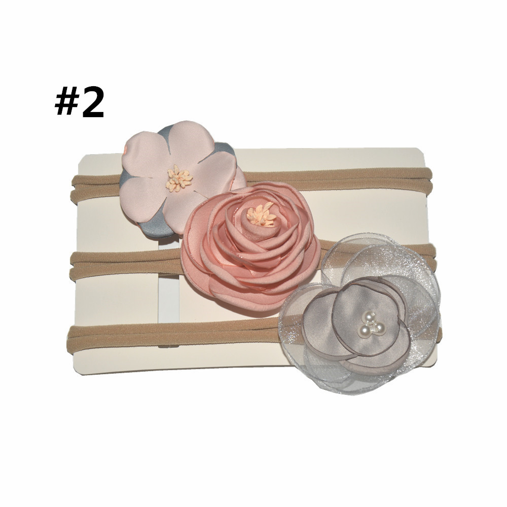 on sale 3pcs baby girl boy spandex nylon headband children skinny stretchy Non-Marking Flower elastic hair Band