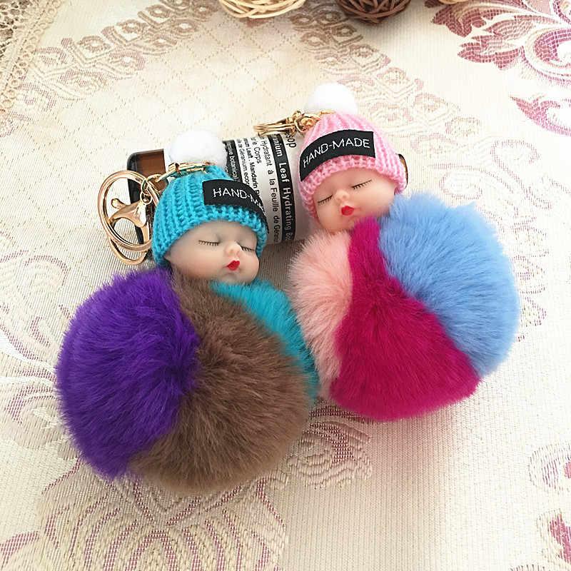 NOVO saco de Dormir Do Bebê Boneca Chaveiro Bola de Pêlo de Coelho Pompom Saco Titular Acessório Charme Pingente Chaveiro Car Chaveiro Mulheres porte clef