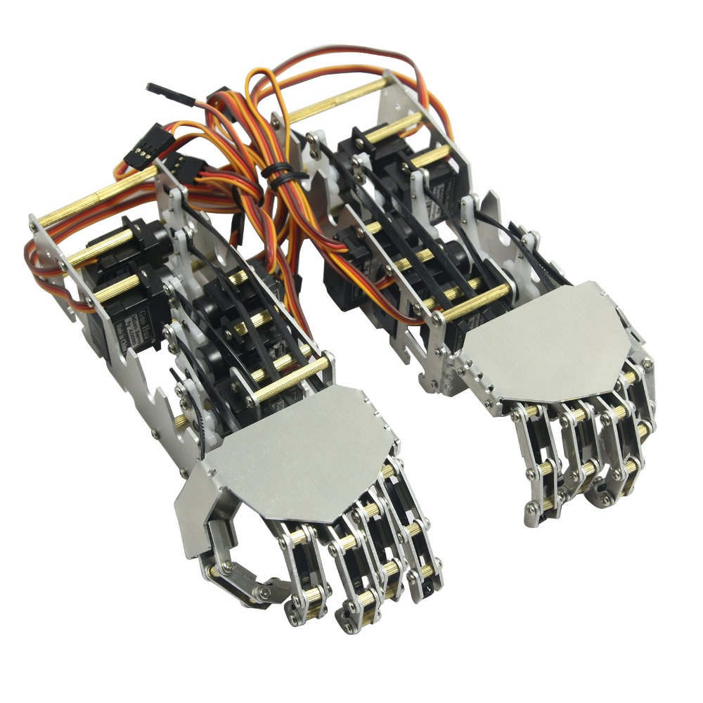 2018 NEW 5DOF Humanoid Five Fingers Metal Manipulator Arm Left and Right Hand with A0090 Servos for Robot DIY