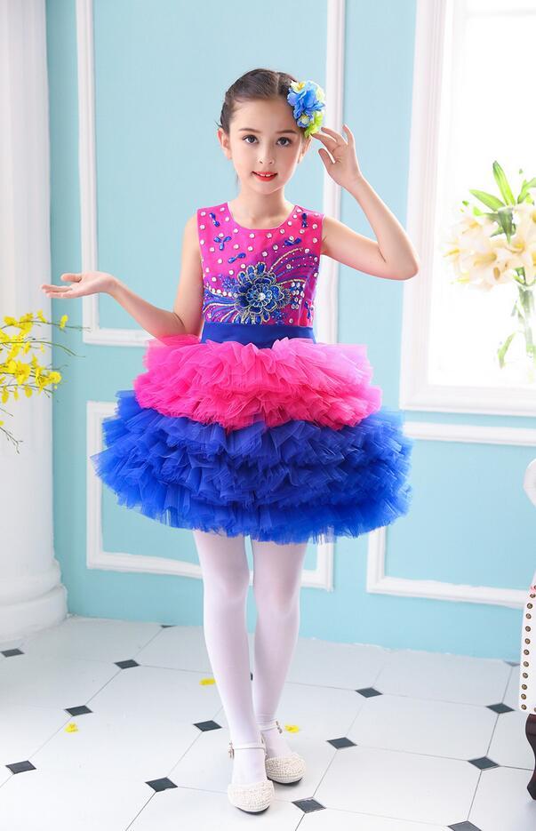 Пышное платье принцессы для девочек; вечерние костюмы для бальных танцев; одежда для выступлений в студенческом хоре; одежда с блестками; юбка из плотной пряжи - Цвет: Королевский синий