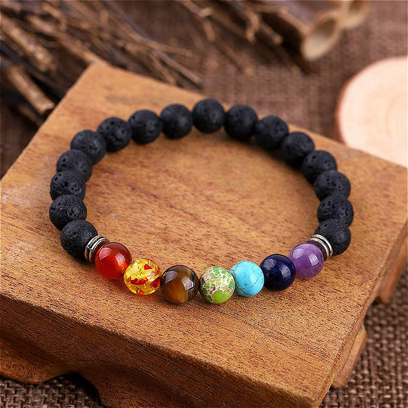 Chakra Bracelet Men Black Lava Healing Balance Beads Reiki Buddha Prayer Natural Stone Yoga ID Bracelets For Women