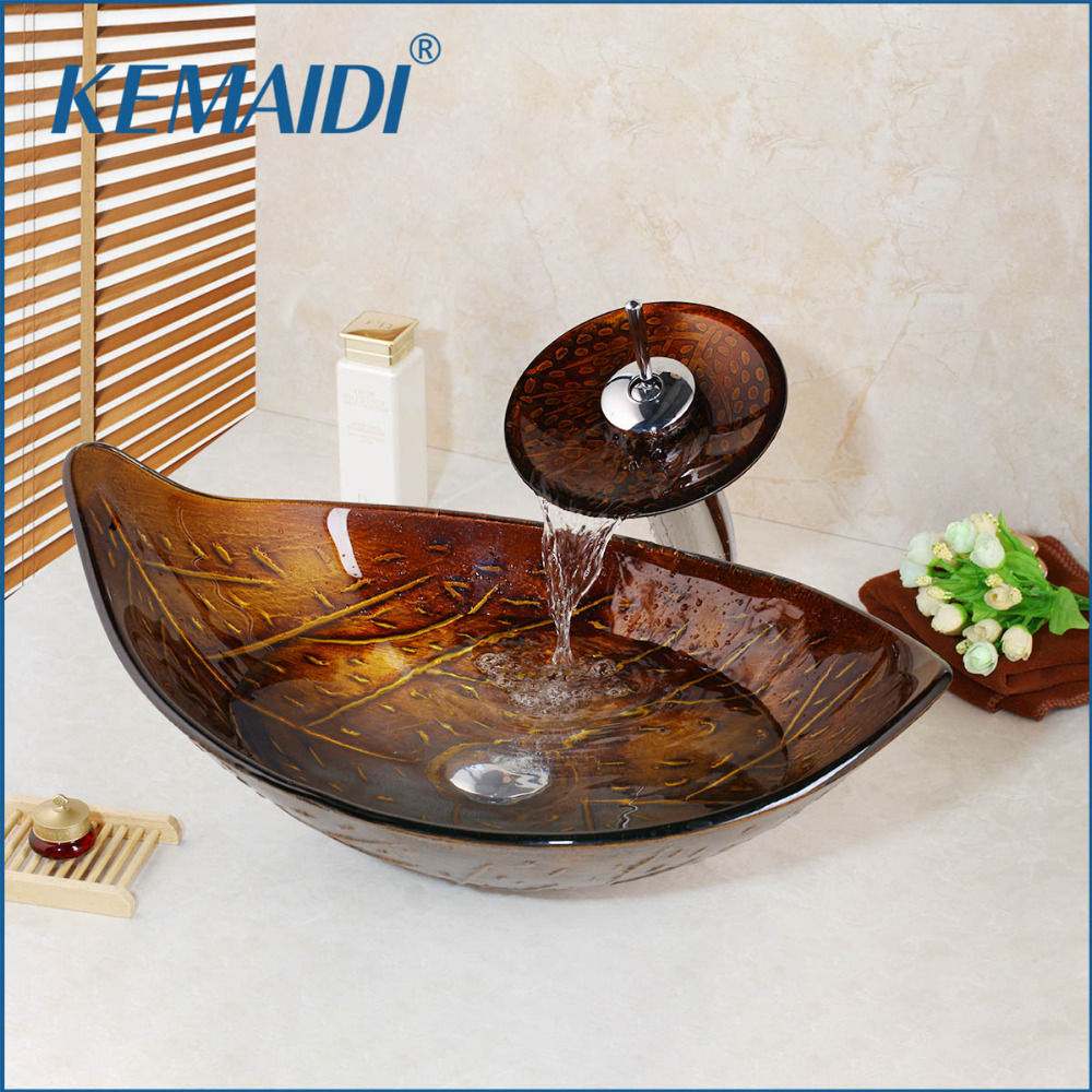 KEMAIDI Retro Style Glass Bowl Bathroom Sink Leaf Art Wash Basin With Waterfall Faucet Tempered Glass