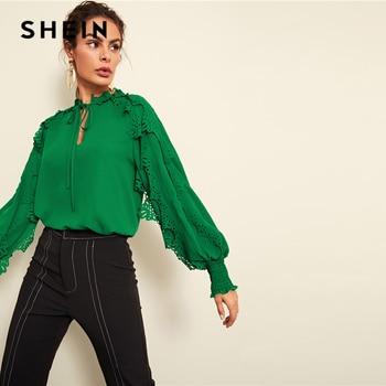 SHEIN Green Minimalist Highstreet Office Lady Tie Neck Shirred Panel Laser Cut Streetwear Blouse Autumn Women Workwear Shirt Top
