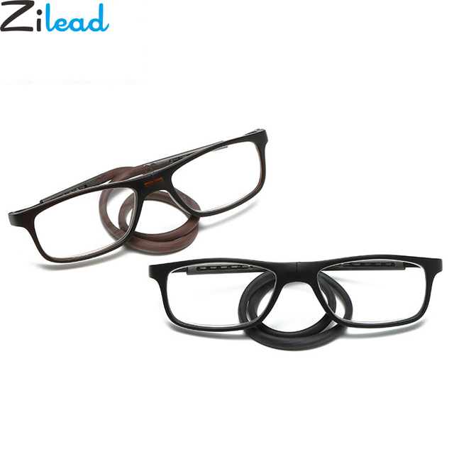 Zilead New Soft Silicon Adjustable Halter Neck Magnetic Reading Glasses Foldable Hanging Front Presbyopic Glasses Eyewear