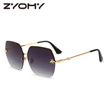 Women Sunglasses Brand Designer Square Metal Eyewear Honey Bee AccessoriesGradient Colors Lenses Driving Goggles UV400