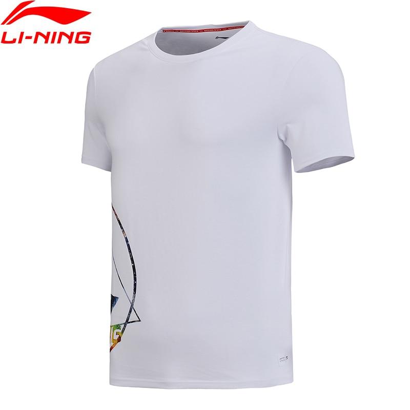 (Clearance)Li-Ning Men T-Shirt 63% Cotton 37% Polyester Regular Fit Breathable LiNing Sports Galaxy Print Tops AHSN181 MTS2744