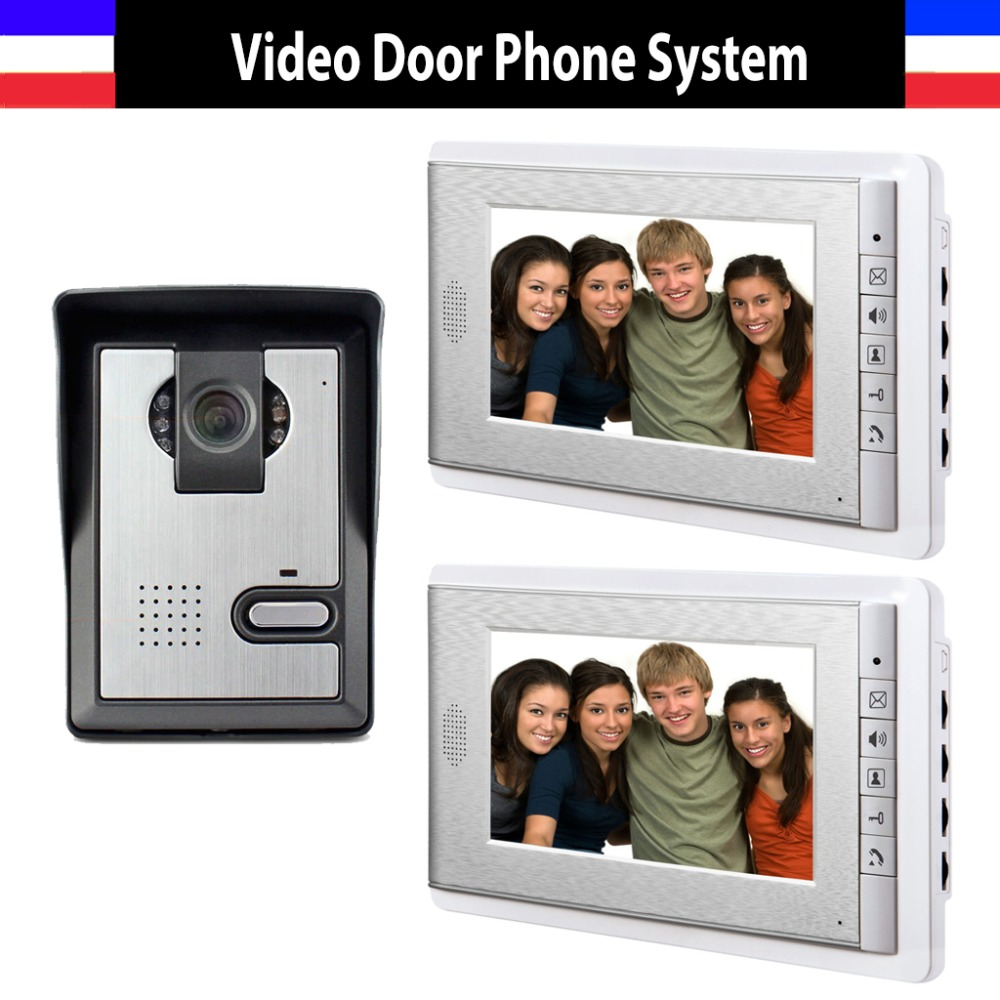 Hot Sale 7 Inch Color Lcd Video Door Phone Intercom Doorbell System Video Intercom Interphone 2-monitor 1-Door Camera