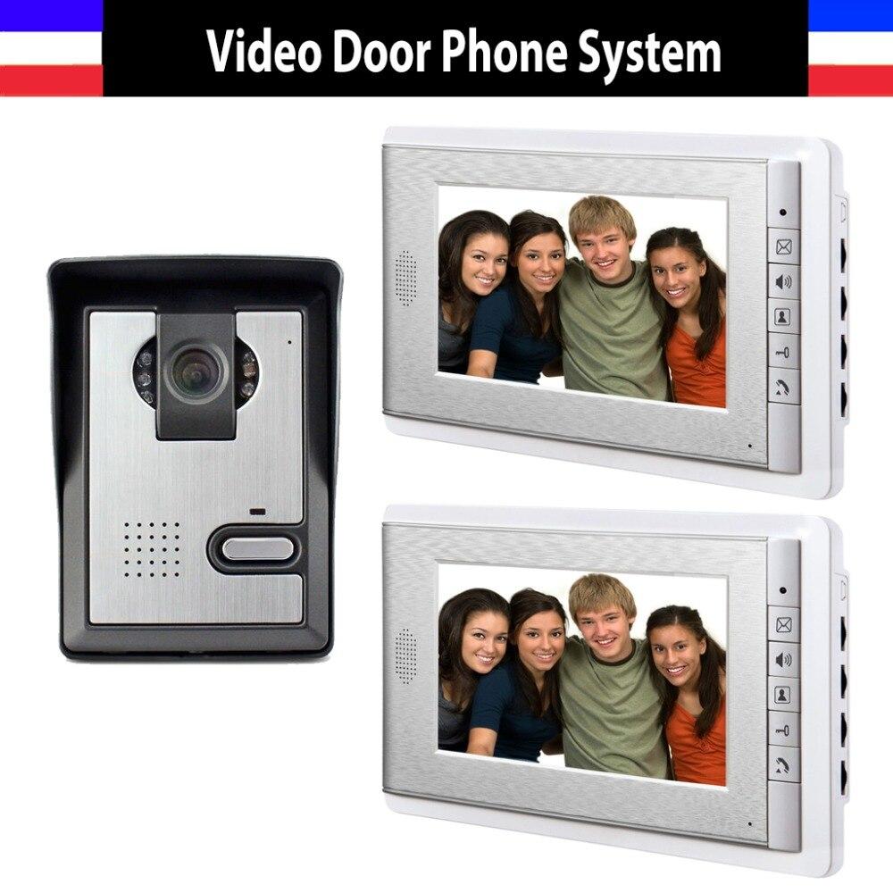 Hot Sale 7 Inch Color Lcd Video Door Phone Intercom Doorbell System Video Intercom Interphone 2-monitor 1-Door Camera
