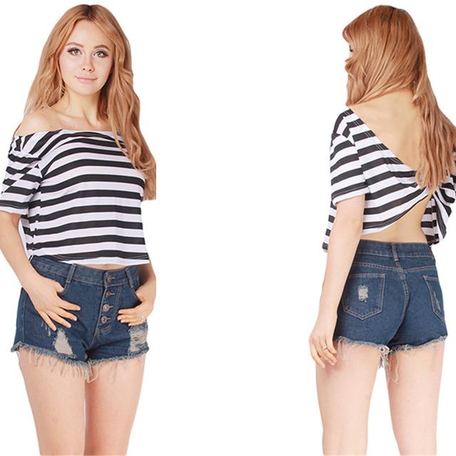 2016 Verão Tarja de Manga Curta Camiseta Roupas Femininas O Pescoço Casual Tees T-shirt Cruz de Volta Sem Encosto Mulheres Tops HO853349
