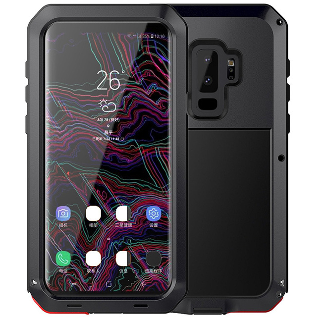 finest selection d4b13 50b76 US $28.0 15% OFF|For samsung galaxy s9 case full body 360 protective metal  aluminum silicone hybrid heavy duty cover for samsung s9 plus shell-in ...