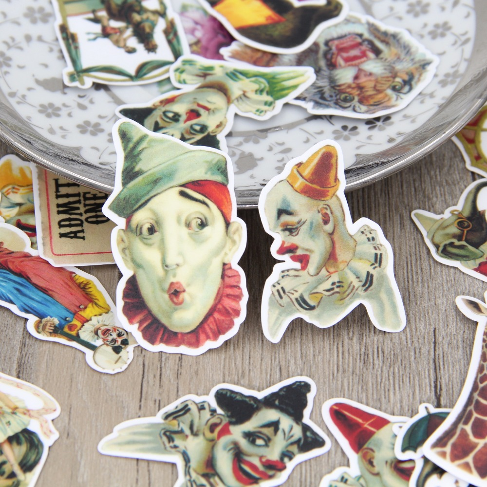 26 Pcs DIY Sticker For Laptop Phone Luggage Skateboad Car Stying Bicycles Motorcycle Circus Clown Paper Stickers