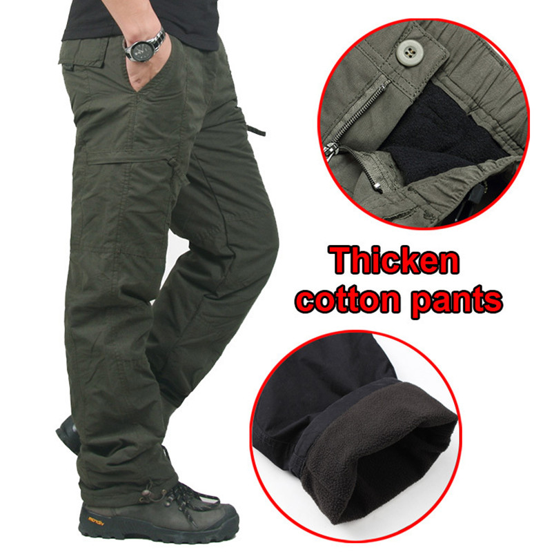 Fleece Thicken Warm Pocket Cargo Tactical Pants Men's Winter Outdoor Fishing Camping Riding Thermal Baggy Cotton Long Trousers