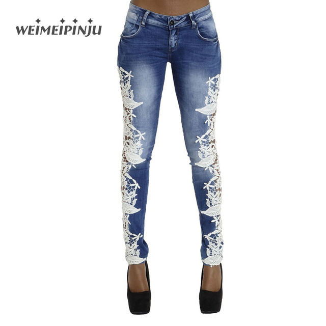 White Lace High Waist Skinny Jeans