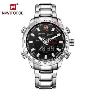 Image 2 - Naviforce mens 시계 쿼츠 아날로그 럭셔리 패션 스포츠 손목 시계 방수 스테인레스 남성 시계 시계 relogio masculino