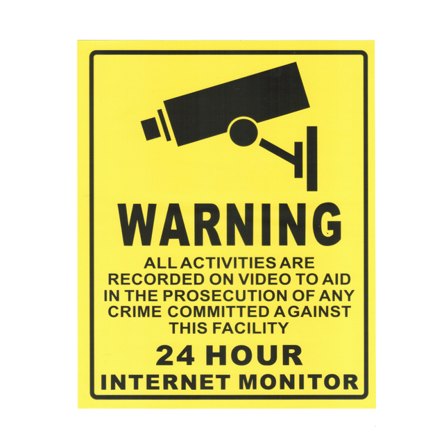 10pcs 24 hour cctv security surveillance stickers camera warning