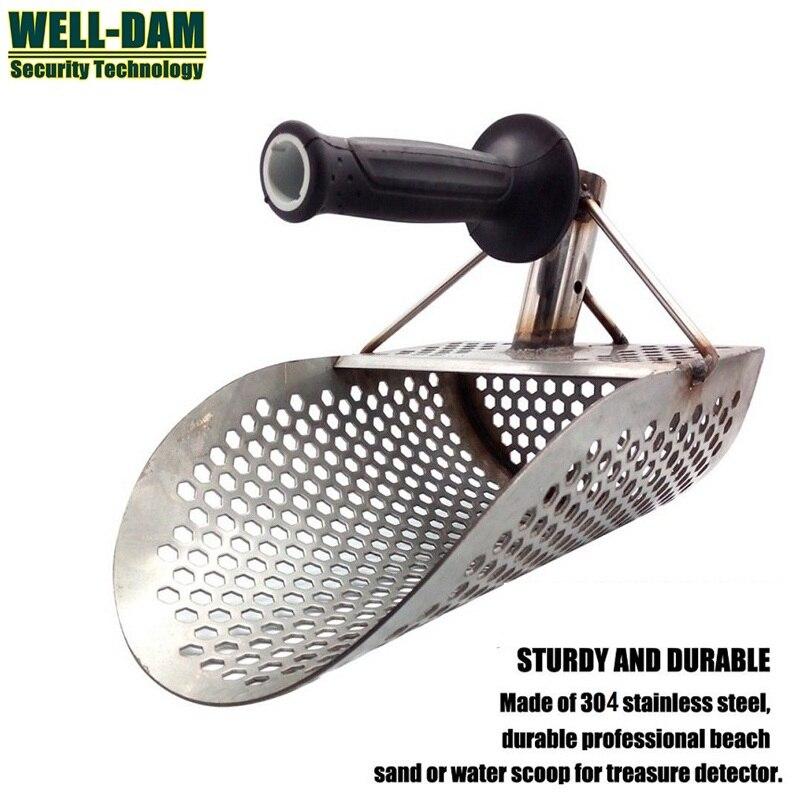 Hand held type metal detecting tools sand scoop stainless beach sand scoop