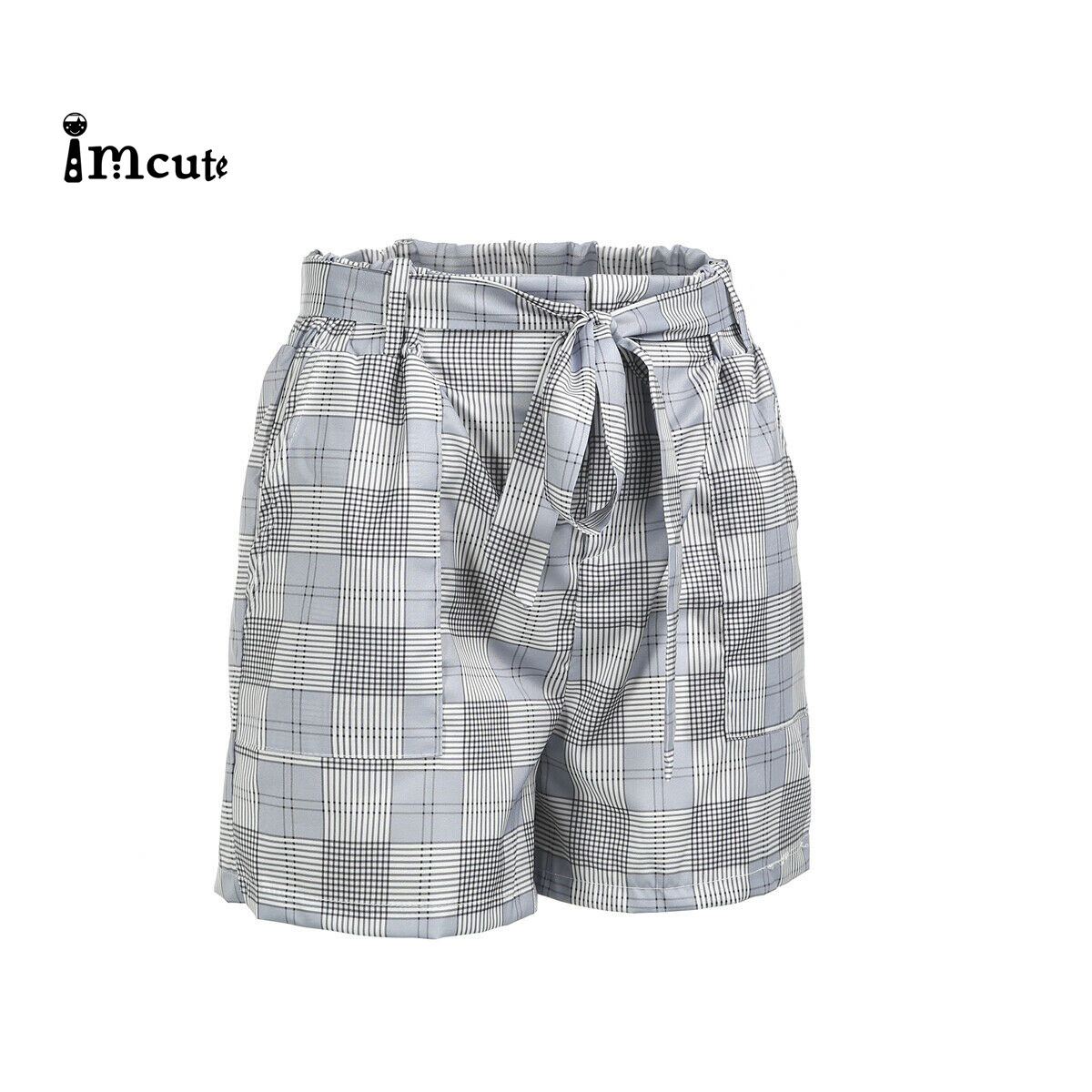 Women Holiday Lace Up Bandage Ladies Shorts Hot Summer Casual Loose Shorts Bow Beach High Waist Plaid Short