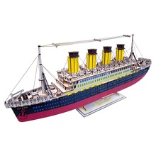 Model Building Kits City Titanic ship Laser Cutting 3D Wooden Blocks Educational Model Building