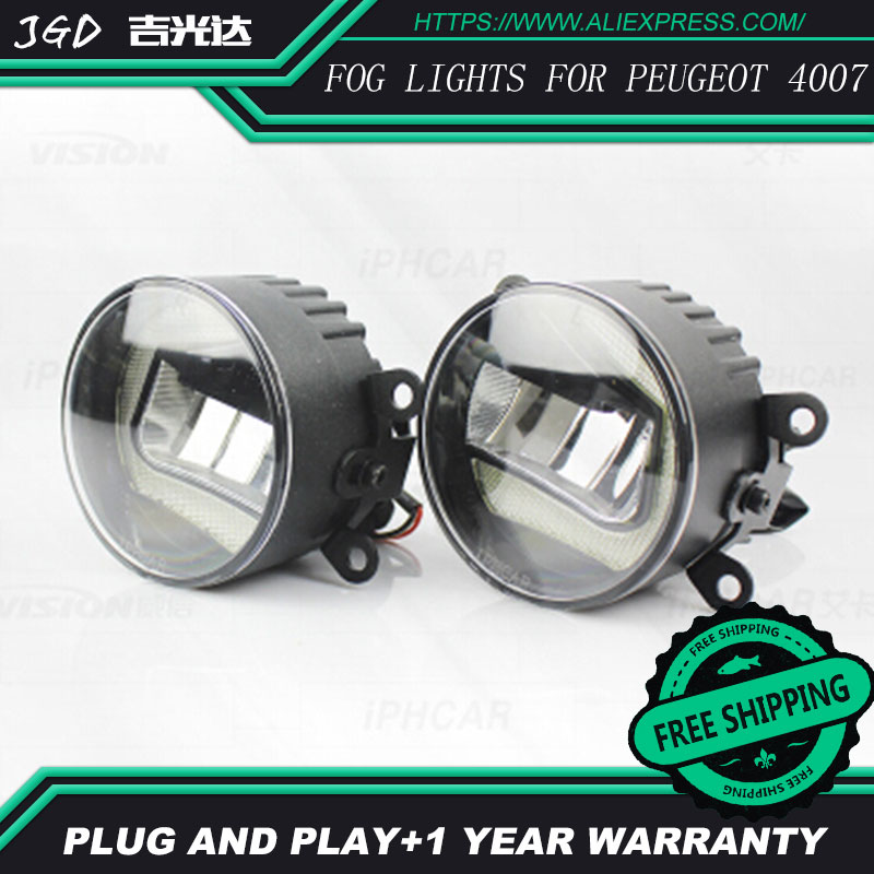 Free Shipping Fog light For Peugeot 4007 LR2 2006-2014 Car styling front bumper LED fog Lights high brightness fog lamps 1set car bifocal fog lens for honda cr v accord taiwan product front bumper lights high quality free shipping