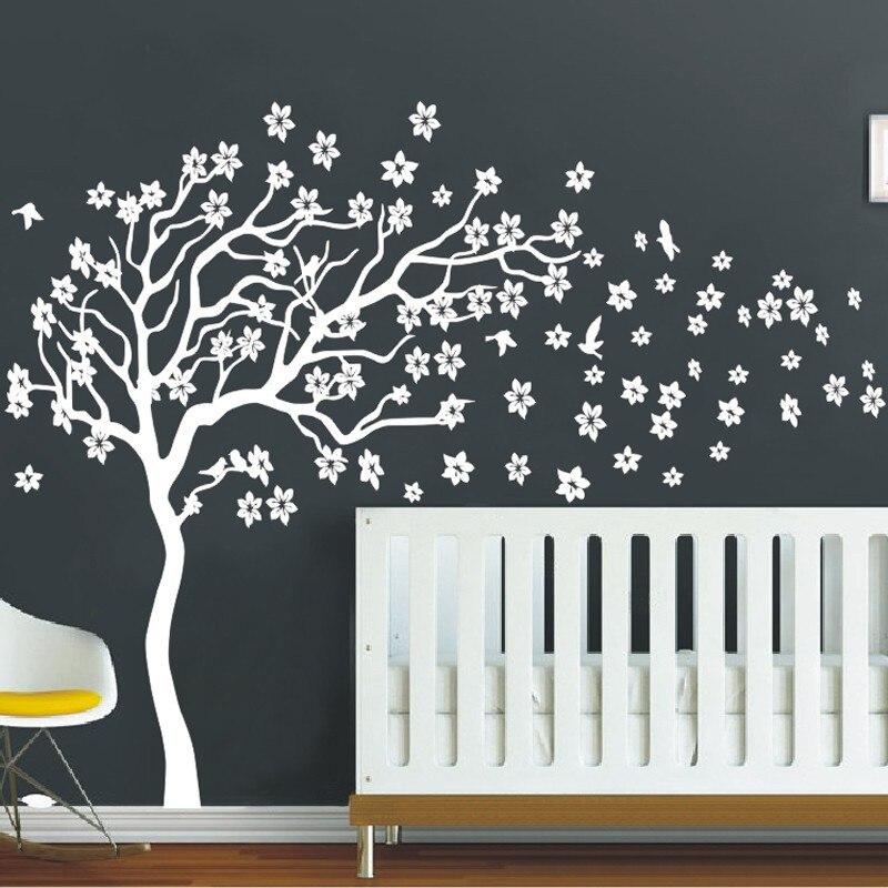 Énorme Blanc Arbre Fleurs 3D Vinyle Sticker Nursery Arbre et oiseaux Mur Art Bébé Enfants Chambre Mur de Décor de Mur Autocollants Maison décor