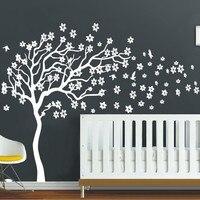 Huge White Tree Flowers 3D Vinyl Wall Decal Nursery Tree And Birds Wall Art Baby Kids