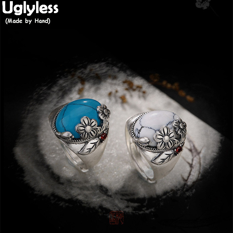 Uglyless Real 990 Fine Silver Nature Turquoise Women Luxury Dress Open Rings Retro Handmade Plum Flower Ring Leaf Bohemia Bijoux недорго, оригинальная цена