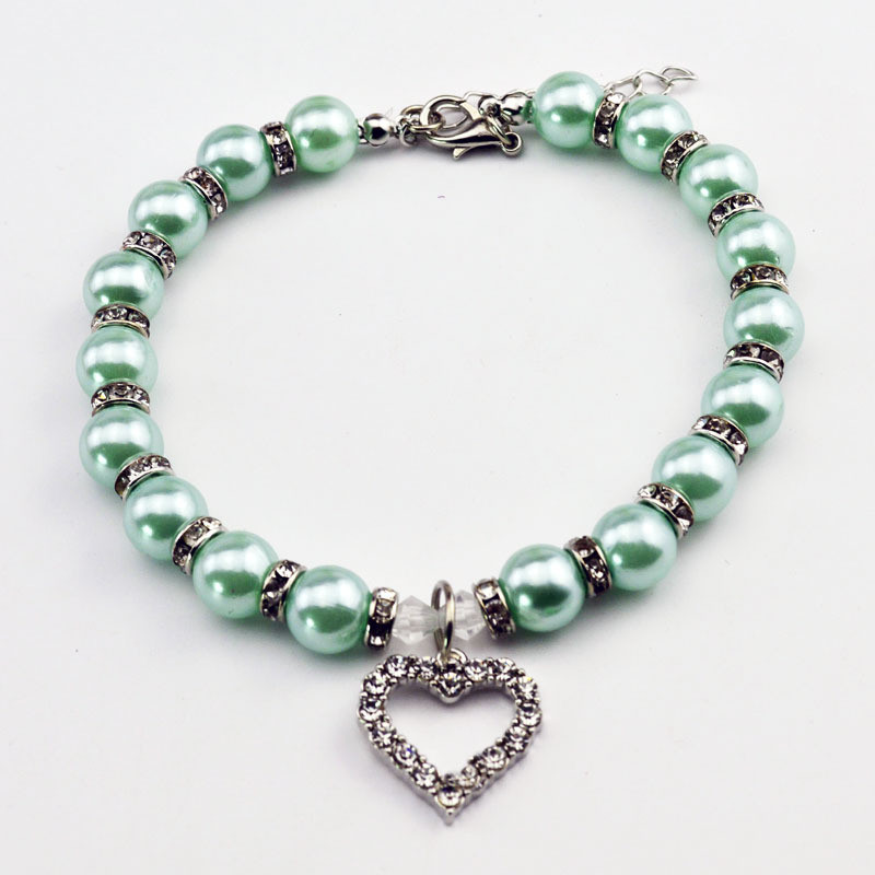 KIMHOME PET Fashion Pet Coller Puppy Dog Cat Pearl Necklace Pet Accessories Love Diamond Pets Dogs