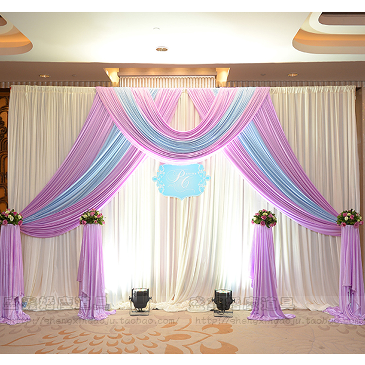 3m 6m ice silk wedding backdrop curtain with swags wedding props satin drape pleated wedding stage curtain decorations dhl free
