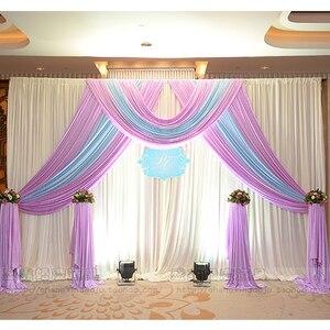 3 м * 6 м ледяной Шелковый фон для свадьбы, занавески с гирлянды для свадьбы, реквизит, сатиновая драпировка, Плиссированные Свадебные сцениче...