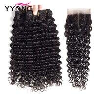 Yyong Hair Deep Wave 3 Bundles With Lace Closure Human Hair Bundles Natural Color Peruvian Non Remy Hair Free Shipping
