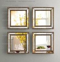 Зеркальные Настенный декор Лепнина площади настенное зеркало оформлена стены искусства набор из четырех квадратных настенные декоративны