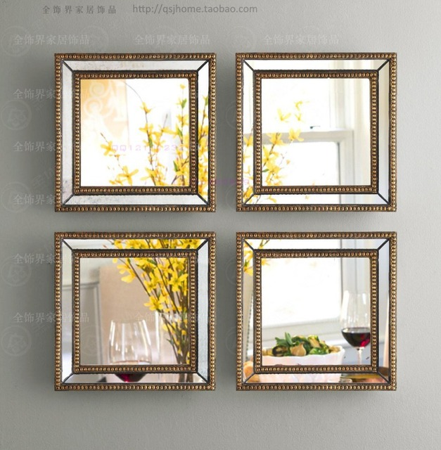 Mirrored Wall Decor Fretwork Square Wall Mirror Framed Wall Art Set Of Four  Square Wall Decorative