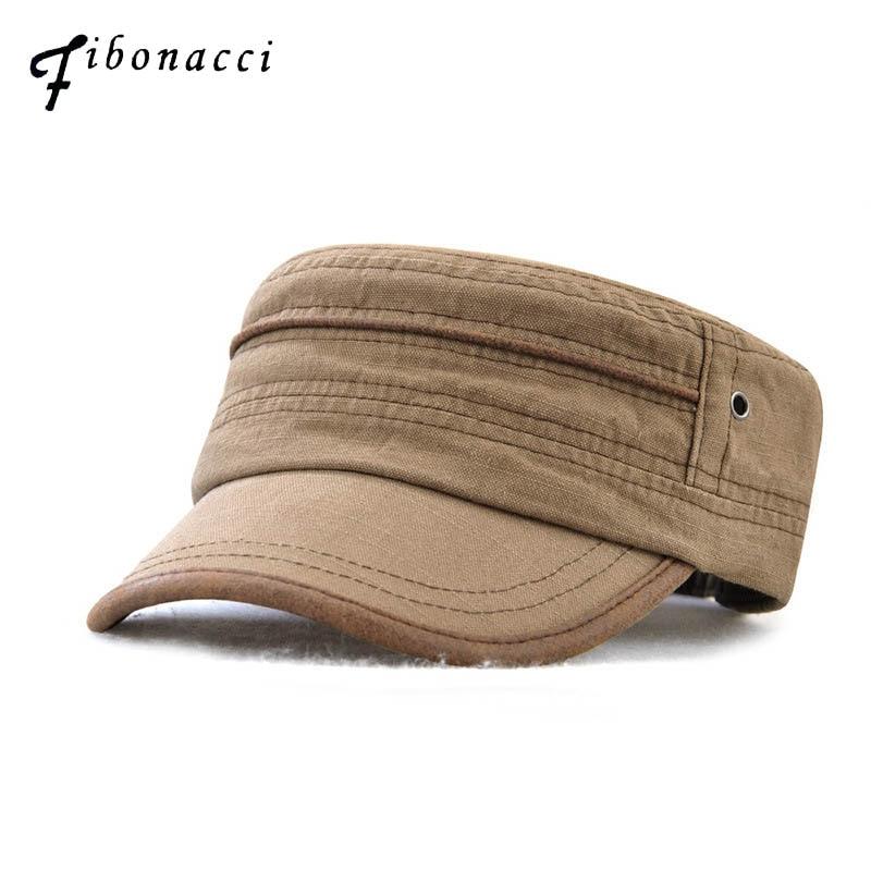 Fibonacci 2018 New Classic Patchwork Men Military Hats Snapback Patrol Cap Adjustable Flat Top Army Hat
