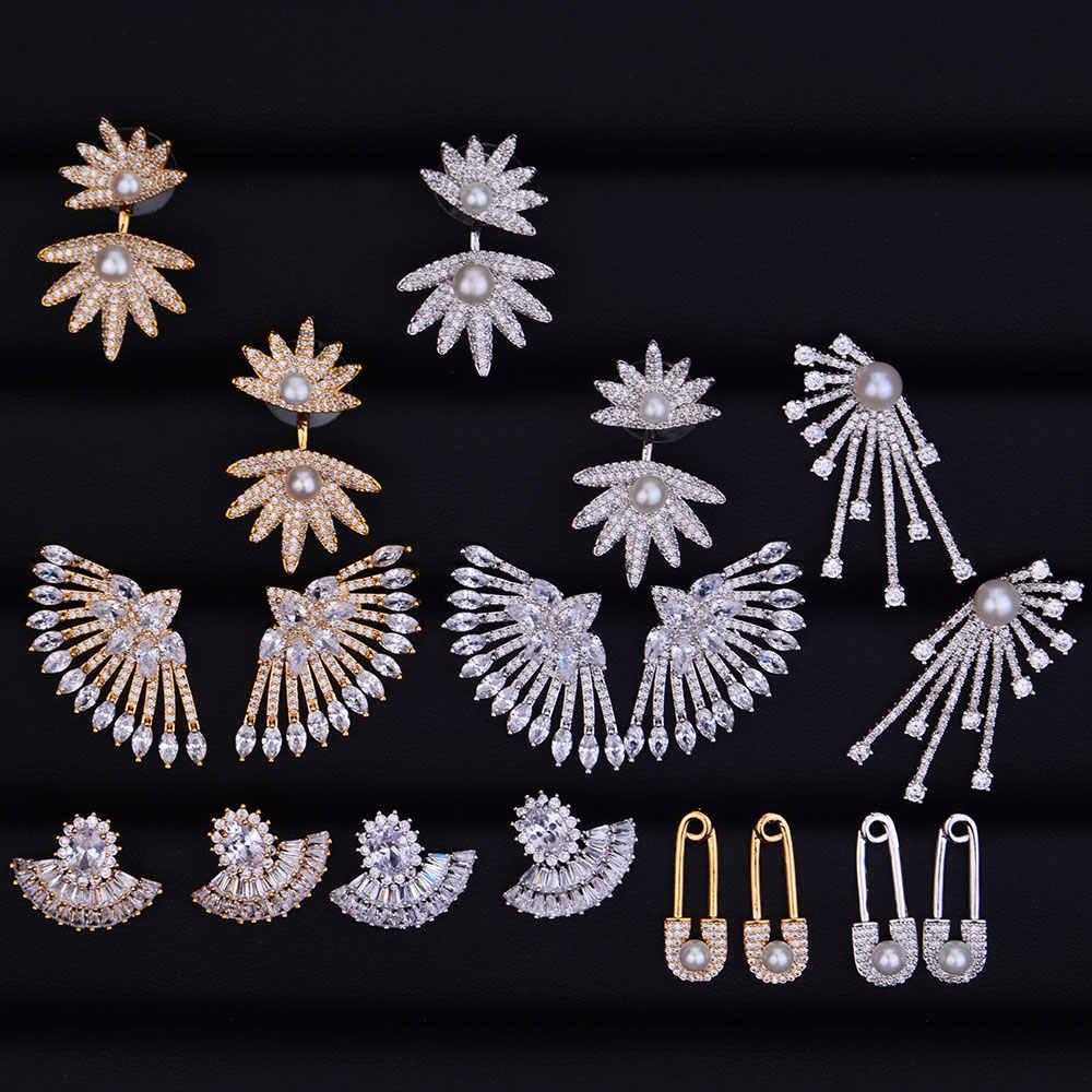 GODKI Lá Bộ Sưu Tập Cubic Zirconia Phụ Nữ Engagement Earrings Studs Jewelry Đảng Gift