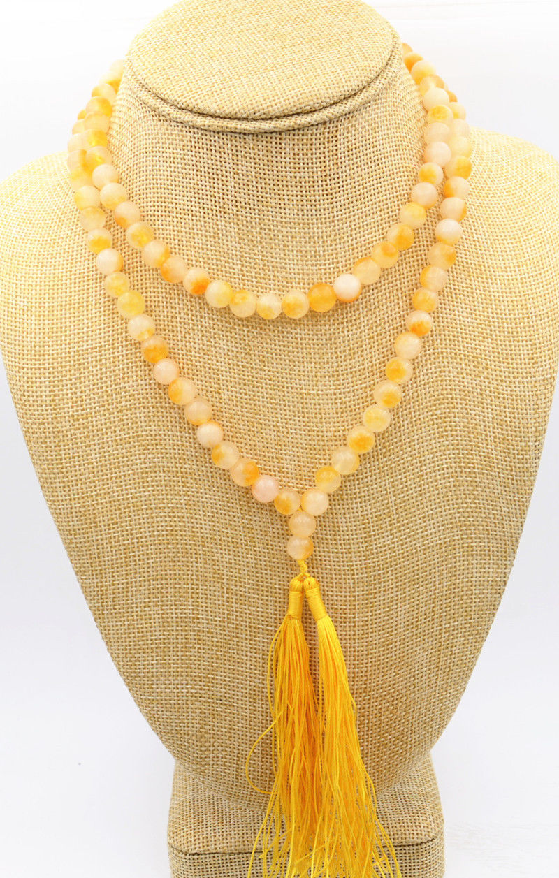 New 8mm Tibet Buddhism 108 Yellow Jade Prayer Bead Mala Necklace #@