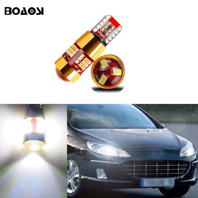 BOAOSI 2x T10 W5W 3014SMD <font><b>LED</b></font> Parking Lights Sidelight No Error For <font><b>Peugeot</b></font> 307 206 301 207 2008 508 301 3008 406 507 <font><b>208</b></font> image