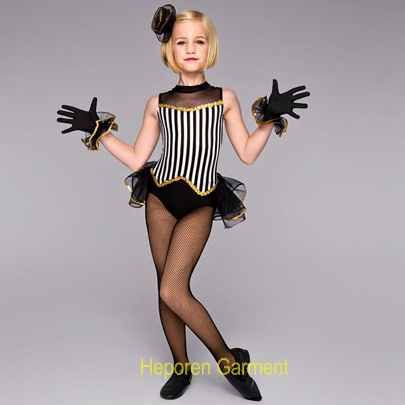 Nouveaux costumes de danse jazz noir et blanc pour enfants performance ou enfant fille scène danse porter livraison directe gratuite