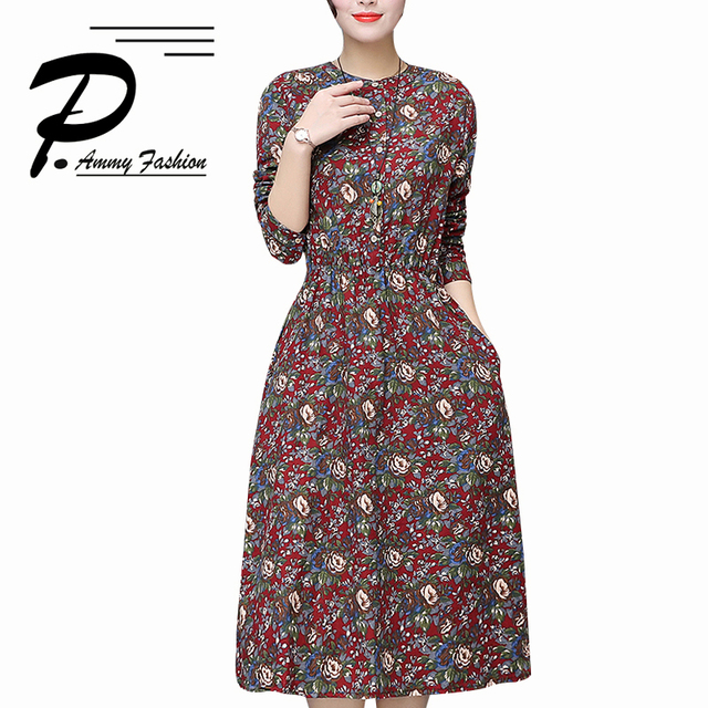 Women s Autumn Winter Vintage Thickening Cotton   Linen Plus Size Print  Waist Dress Lady voguees Trend Stand A-Line tunics ac3ab0b7f9d4