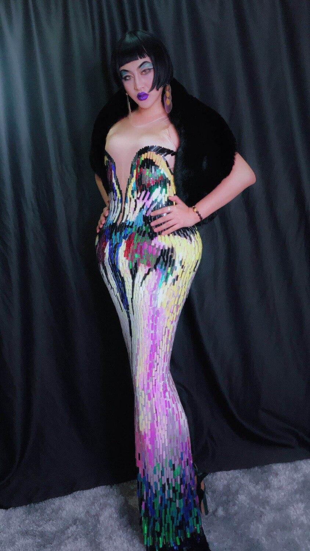 Disfraz de mujer multicolores lentejuelas una pieza vestidos sexy cantante bailarina discoteca fiesta disfraces graduación escenario