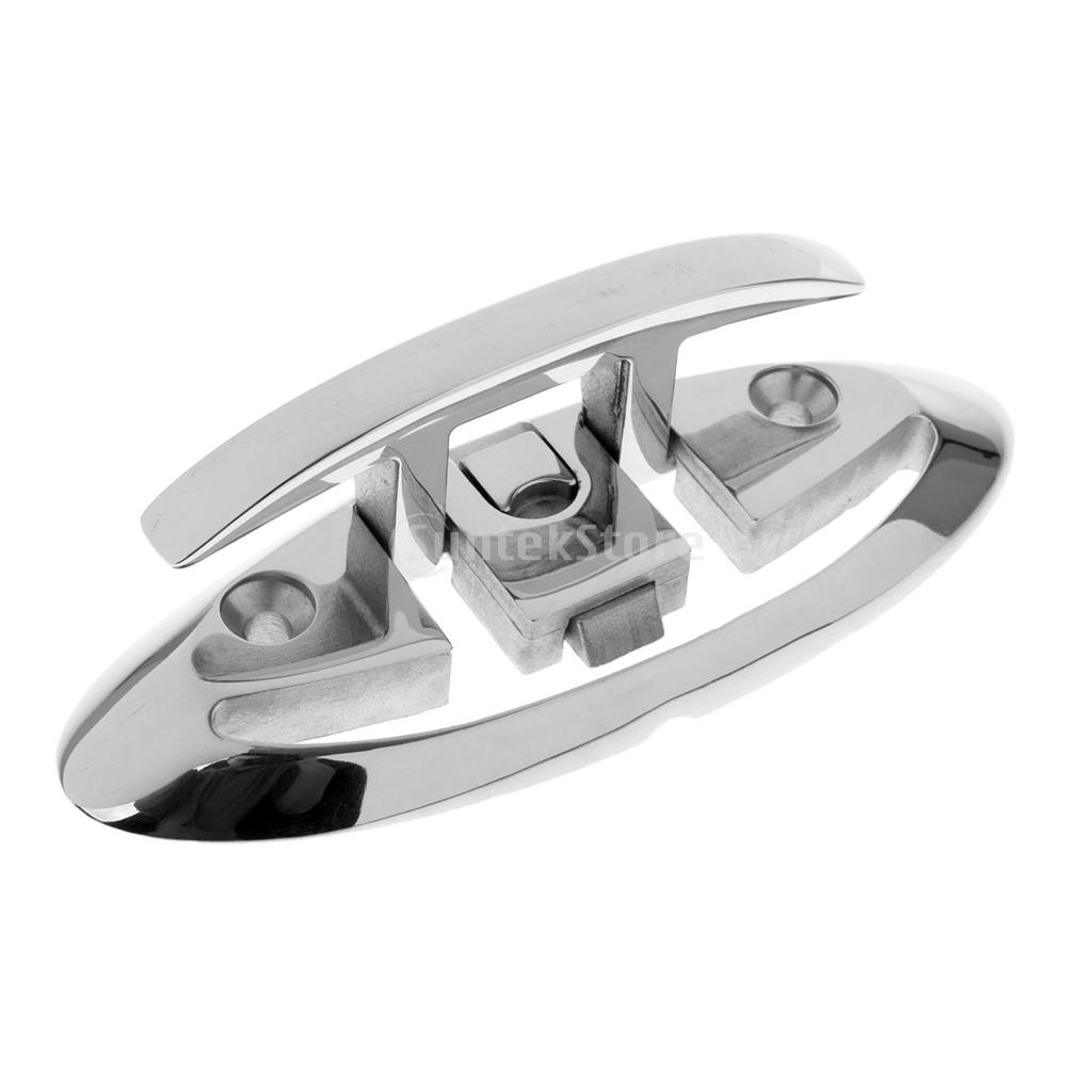 "6/"" Stainless Steel Flip Up Folding Pull Up Dock Cleat Flush Mount Boat Cleat"